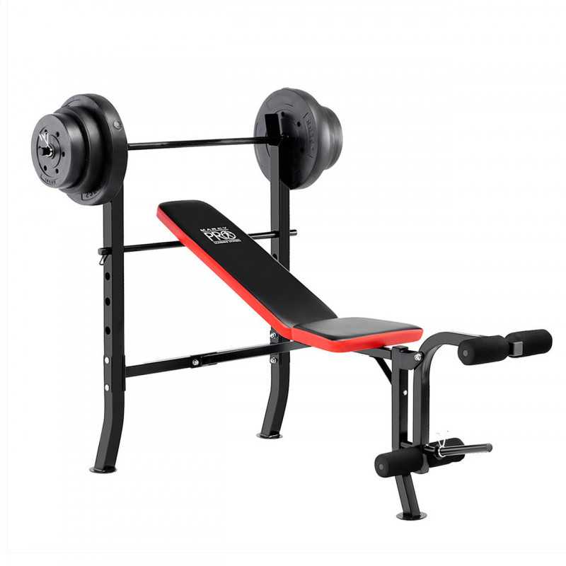 Marcy Pro Standard Weight Bench with 100 lb Weight Set | PM-2084