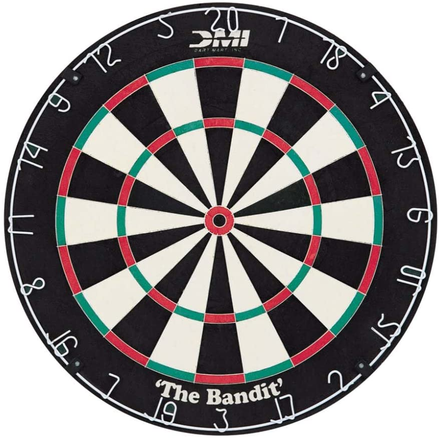 DMI Sports Bandit Staple-Free Bristle Dartboard with Reduced Bounce-Outs, Steel Segment Dividers Embedded in Bristle for Strength and Durability – The Official World Cup Dartboard Since 1999