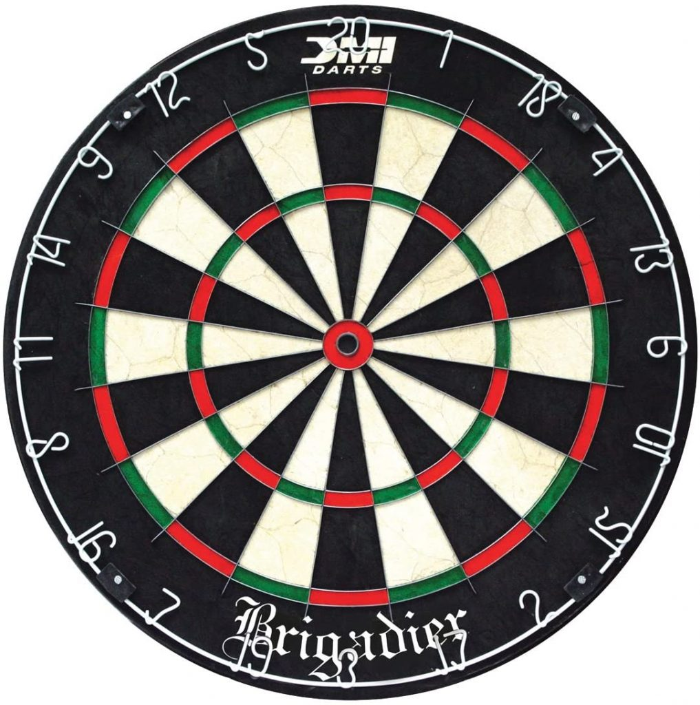 DMI Sports Brigadier Regulation-Size Staple-Free Bristle Dartboard with Staple-Free Wiring System and Bullseye
