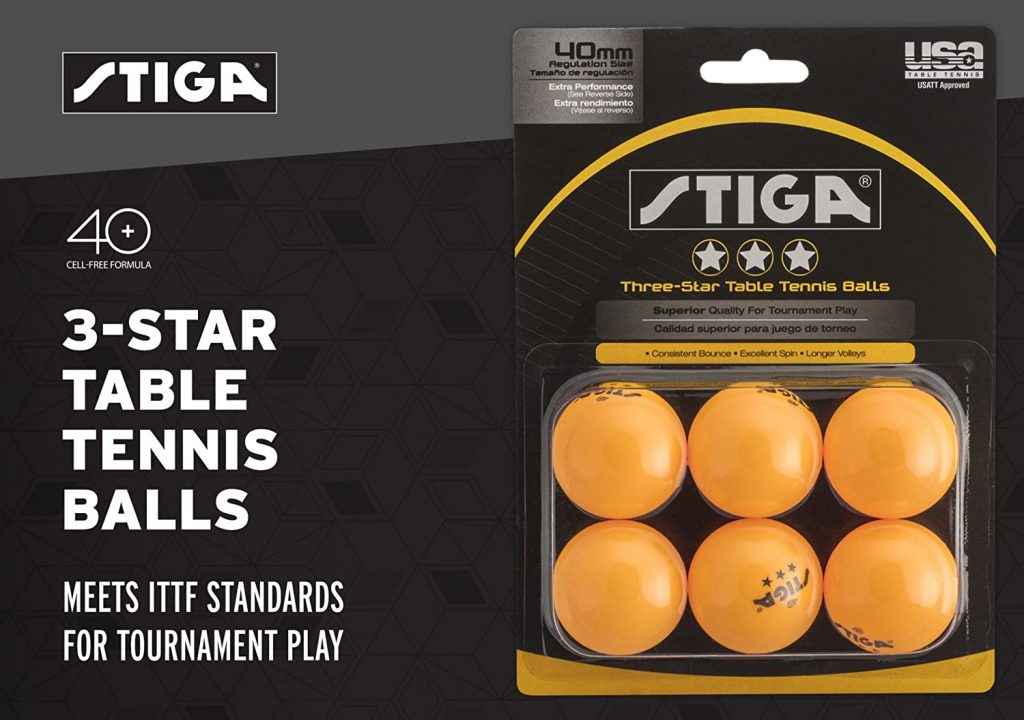 STIGA 3-Star Superior-Quality Orange Table Tennis Balls for Tournament Play (6-Pack)
