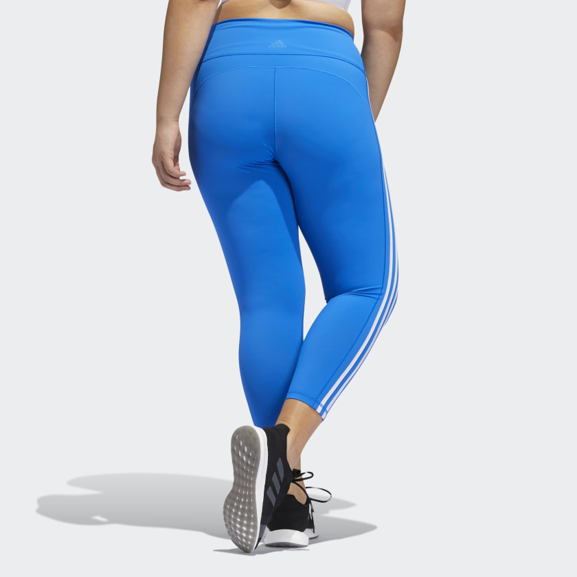 ADI BELIEVE THIS 3-STRIPES 7/8 TIGHTS (PLUS SIZE) (BLUE)