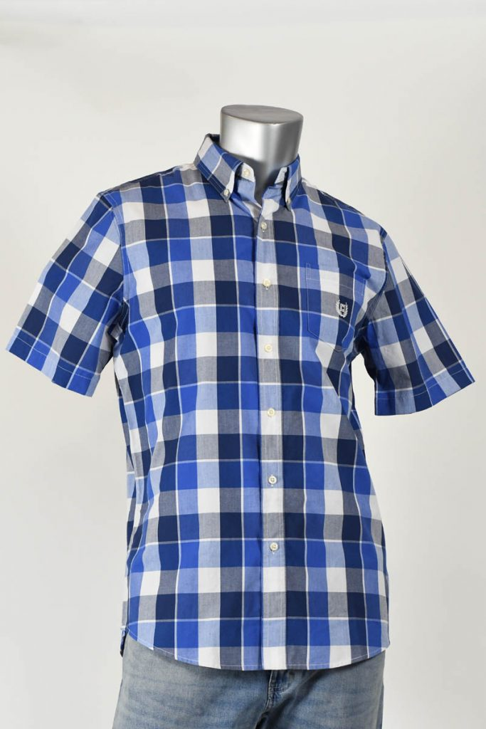 PERF E/C GRAPHIC CHECKED SHORT SLEEVE