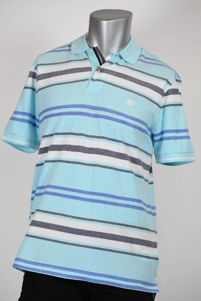 CHAPS STRIPED COTTON POLO SHORT SLEEVE