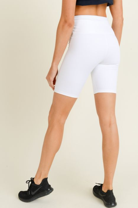 HighWaist Solid Short Bermuda Shorts (White)