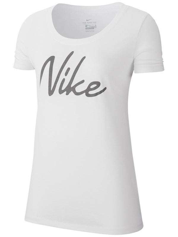 NIKE WOMENS DRI FIT TEE SCOOP LOGO