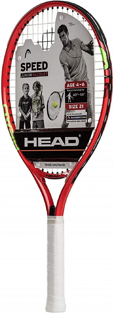 HEAD Speed Kids Tennis Racquet – Beginners Pre-Strung Head Light Balance Jr Racket – 21″, Red