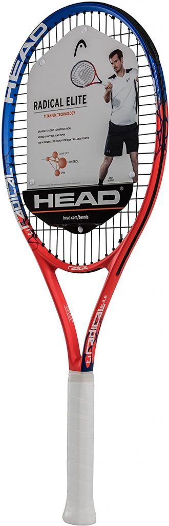HEAD Ti. Radical Elite Tennis Racket – Pre-Strung Head Light Balance 27 Inch Racquet