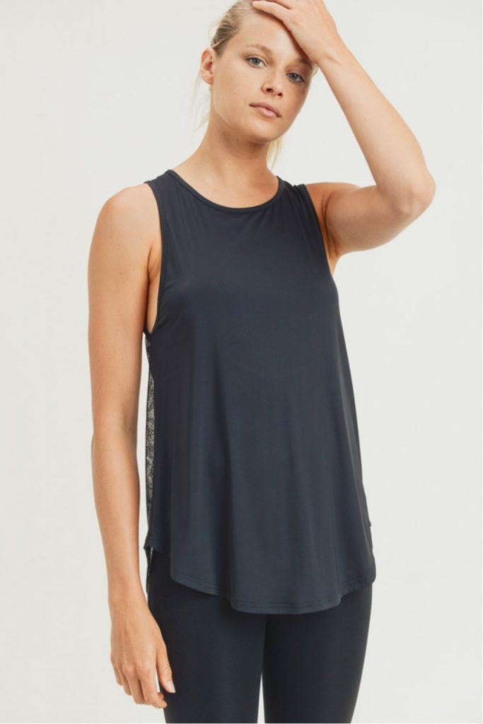 Sheer Lattice Mesh Muscle Tank with Floral Back and Cutout