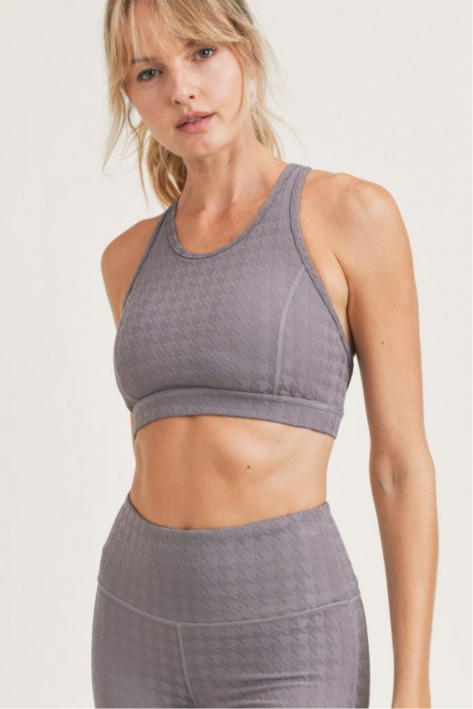 3D Houndstooth Jacquard X-Back Sports Bra