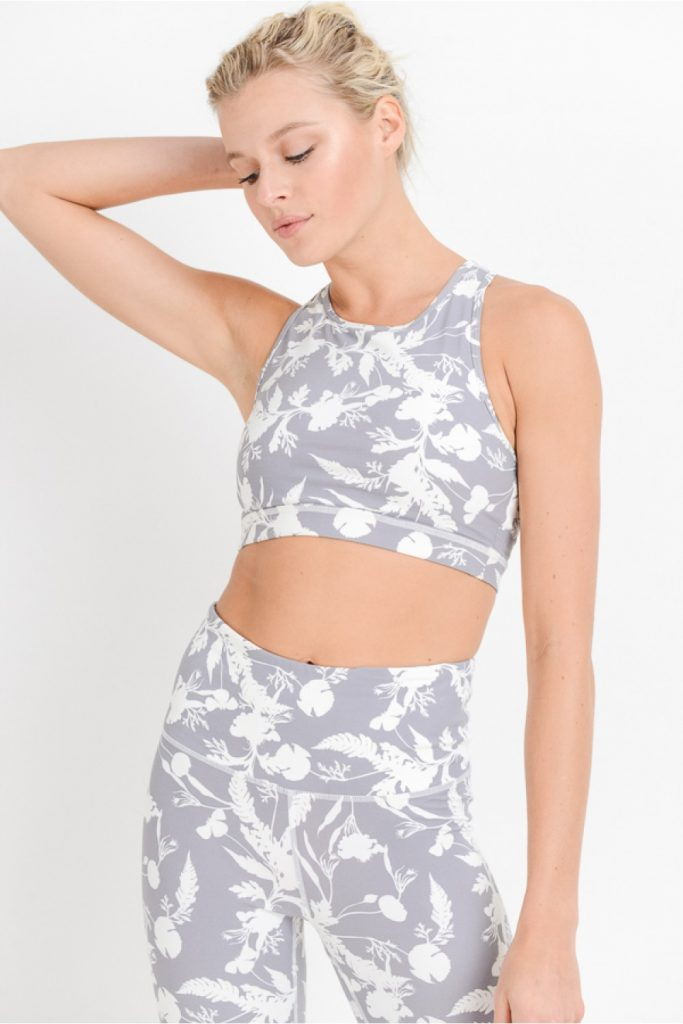 Shadow Poppy Print Racerback Cutout Sports Bra
