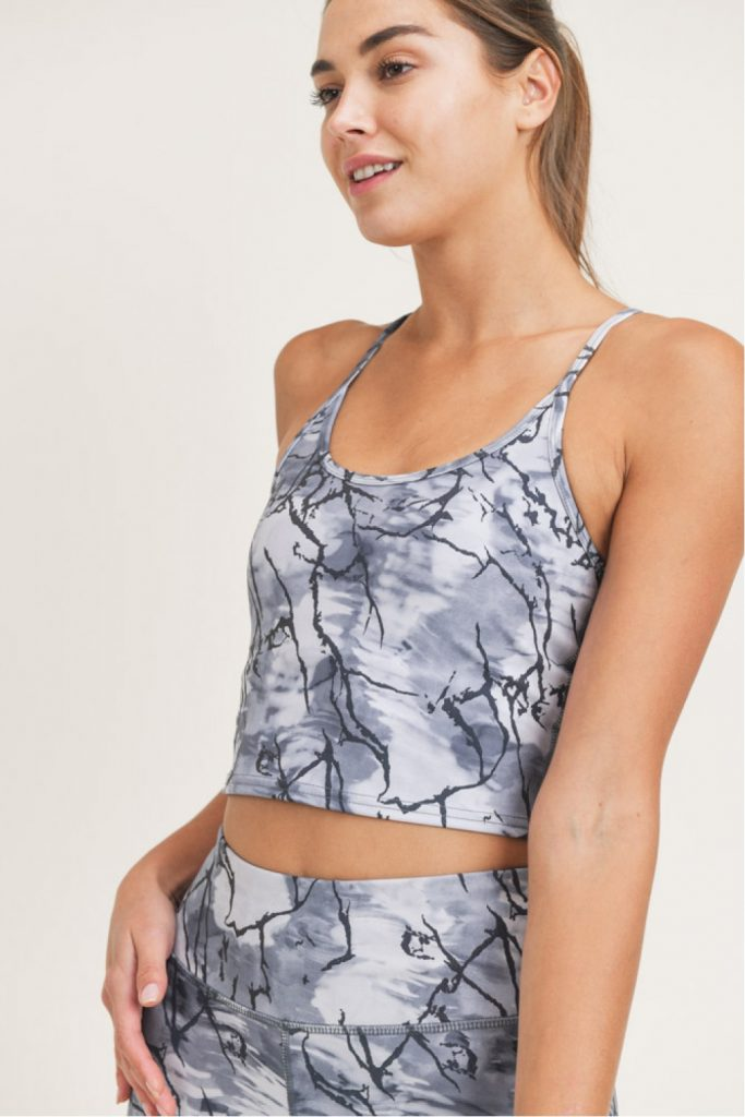 Lightning Reflective Cropped Racerback Active Cami Top