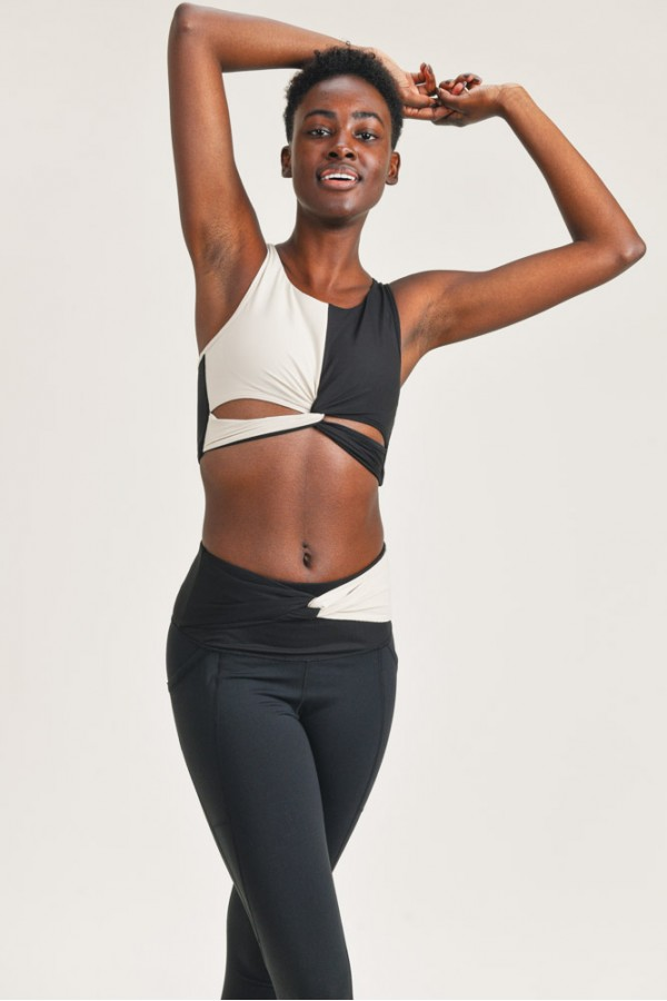 Split Twisted Racerback Sports Bra