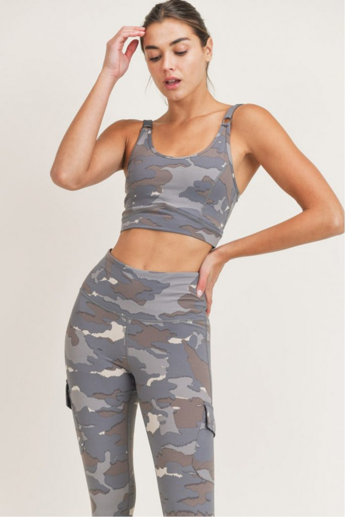 Blue Tundra Camo Peekaboo Back Sports Bra
