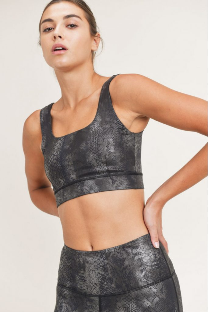 Black Grey Snake Foil Print Sports Bra