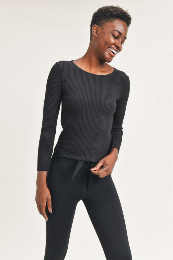 Ribbed Long-Sleeve Cropped Top