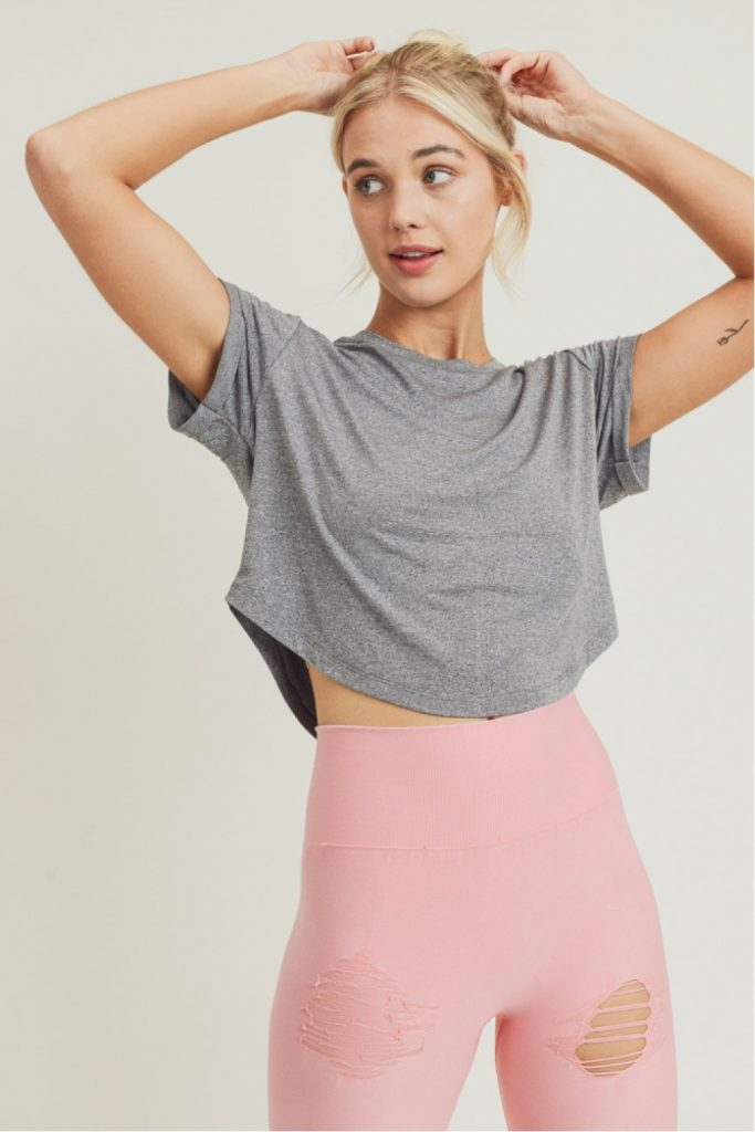 Crop Athleisure Top with Roll-Up Sleeves