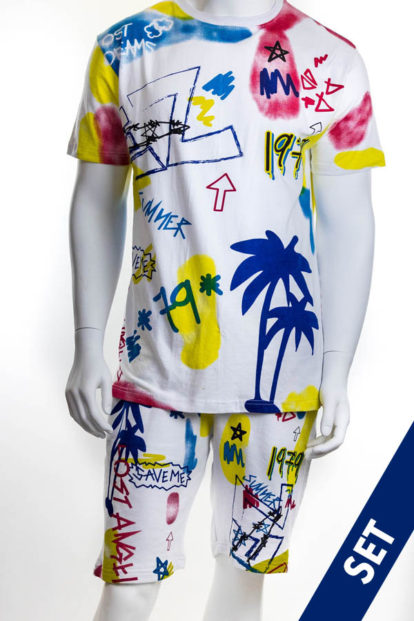 MEN'S 'TROPICAL VIBES' TEE & FRENCH TERRY SHORT SET