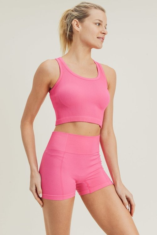 Ribbed All-Over Essential Crop Racerback Tank Top