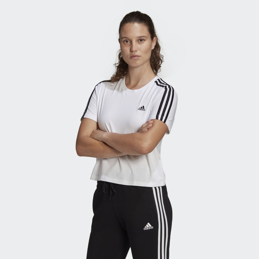 ESSENTIALS LOOSE 3-STRIPES CROPPED TEE